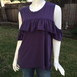 Purple ruffle cold shoulder Top shirt